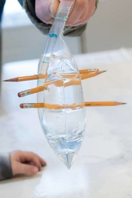 Um saco plástico cheio de água picado com 3 lápis