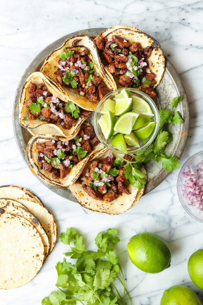 Easy quick authentic carne asada Mexican street tacos with onion cilantro lime juice