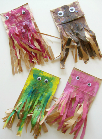 A color mixing paper bag jellyfish craft for kids