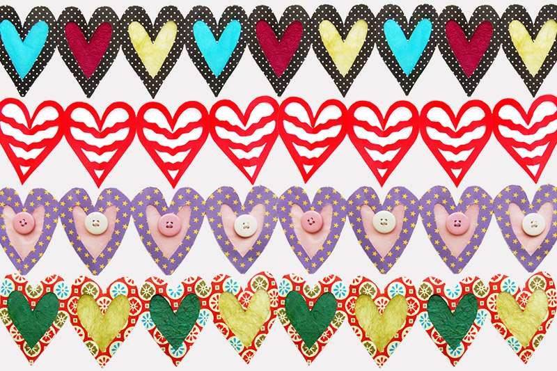 Different heart designs paper chain