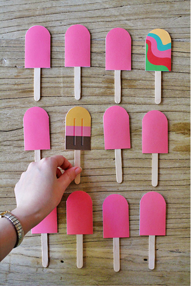 Paper popsicle memory game summer freebie for kids