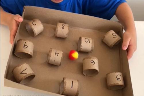 Paper towel roll & pom pom challenge stem activity for kids