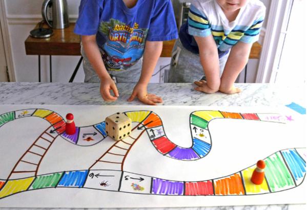 Fun homemade rainbow board game for kids