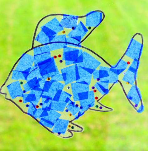 A rainbow fish suncatcher craft for kids summer activity