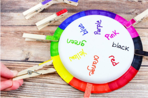 Rainbow wheel color matching game color and words recognition for kids