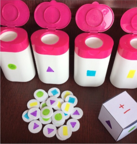 Recyclables shape games fine motor play for kids