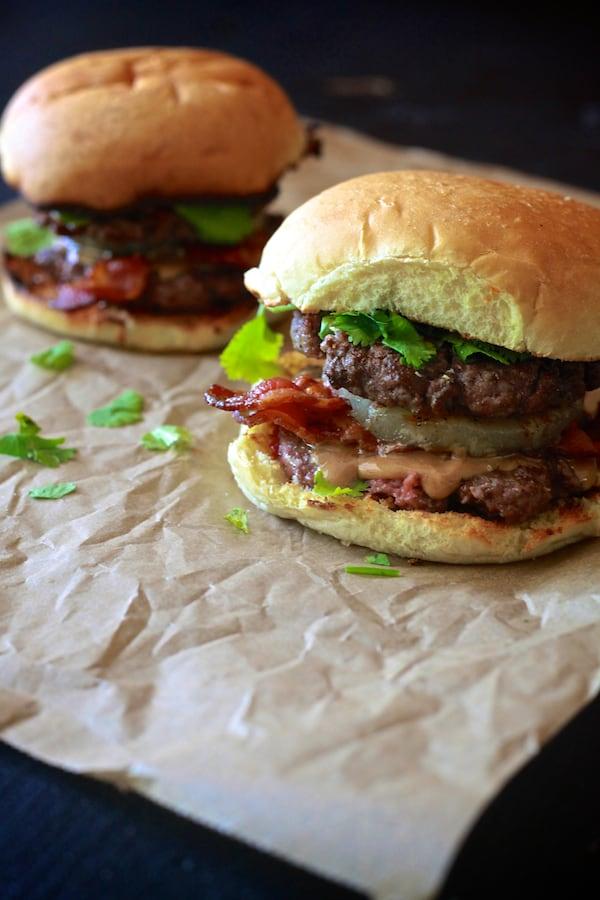 thai peanut butter bacon burgers