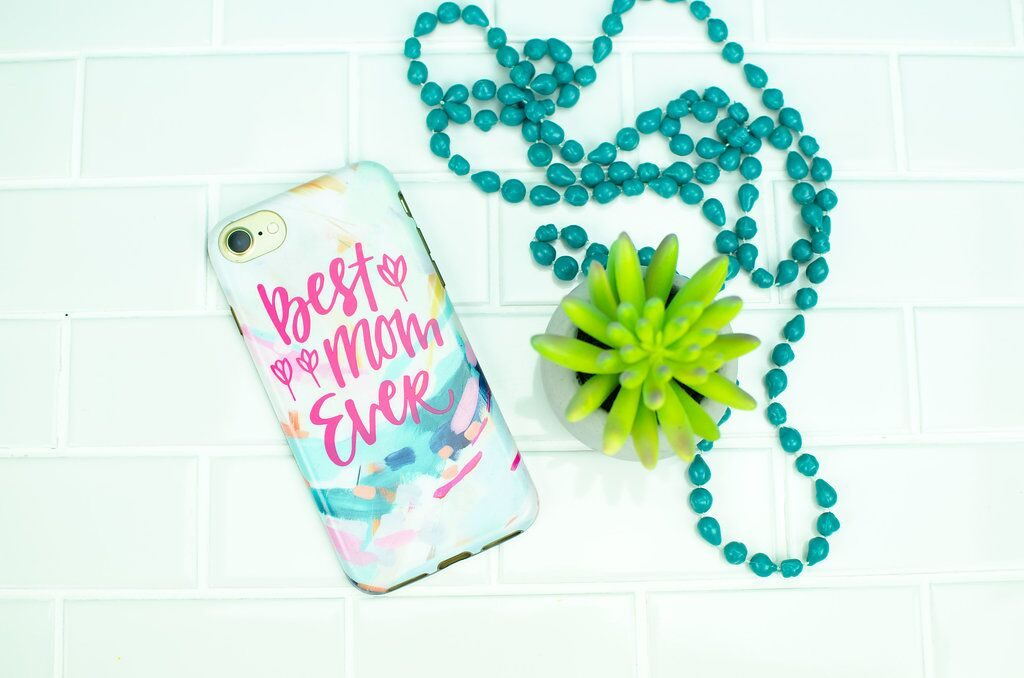 Beautiful custom phone case with text saying Best Mom Ever