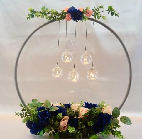 Beautiful hula hoop chandelier weeding centerpiece