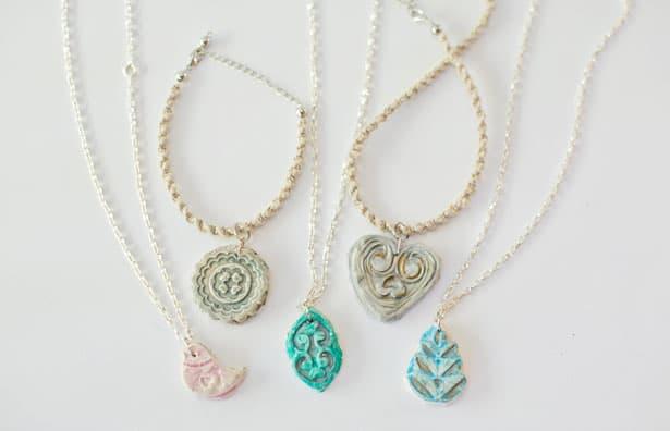DIY necklaces with clay pendants