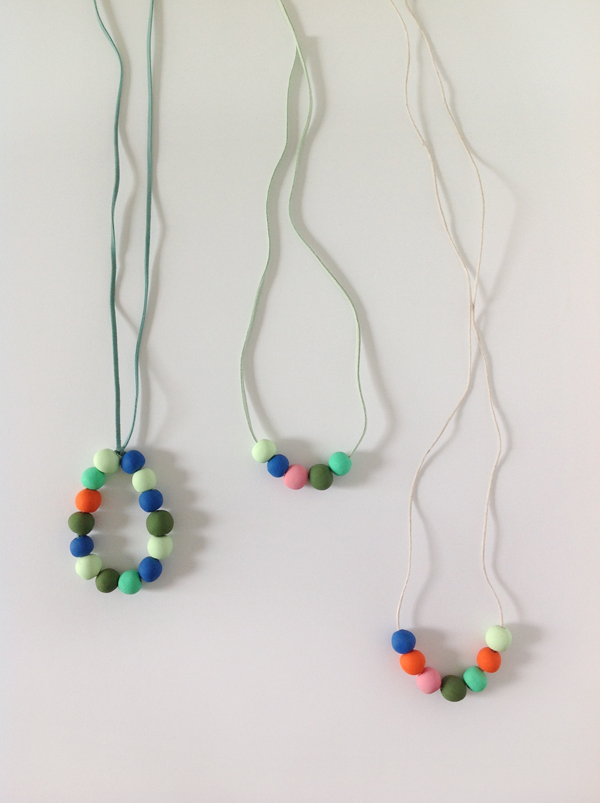 DIY necklaces with colorful bead polymer clay pendants