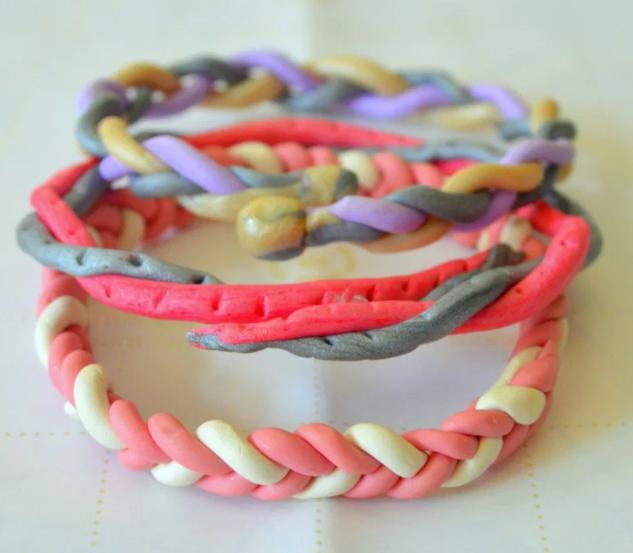 Braided polymer clay bracelets