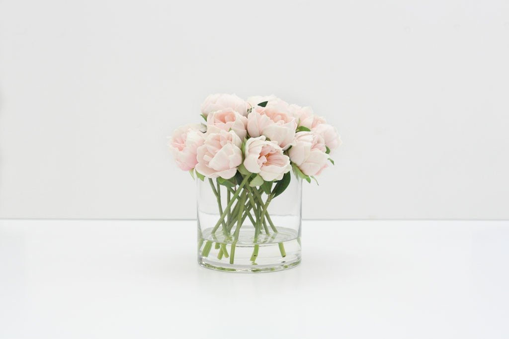 Homemade faux peony arrangement with acrylic water decor