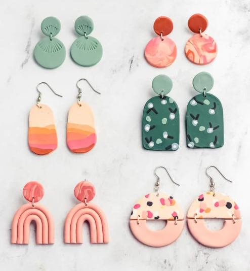 Polymer clay modern marble, floral and botanical patterns, abstract landscapes, and arch shapes earrings