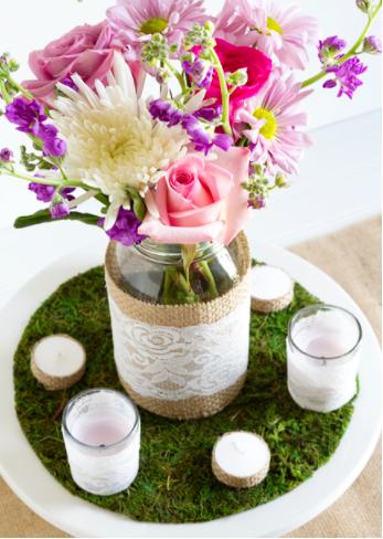 Homemade rustic centerpiece vase party decor