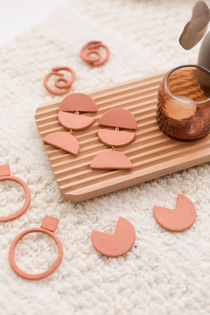 Terracotta Air Dry Clay Earrings in different designs: Quarter, Hoop, Knot, and Half Circle Earrings