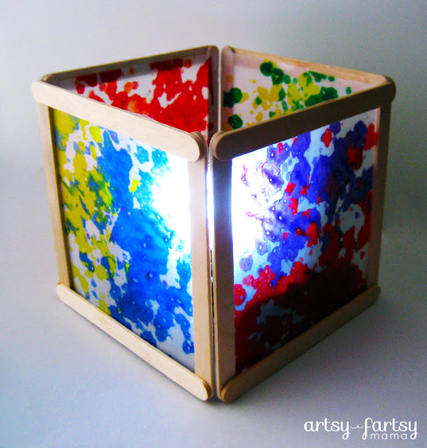 A colorful and unique handmade wax paper lantern art craft for kids