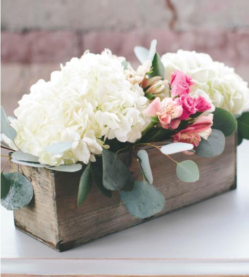 Homemade inexpensive modern hydrangea centerpiece flower party decor