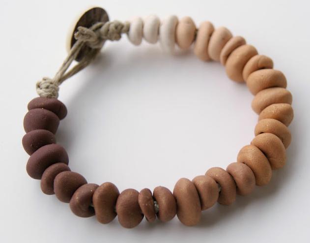 Ombre clay bracelet that looks like river rock pebbles