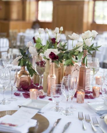 Homemade romantic rose gold wedding centerpiece party decor