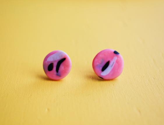 Polymer clay stud earrings
