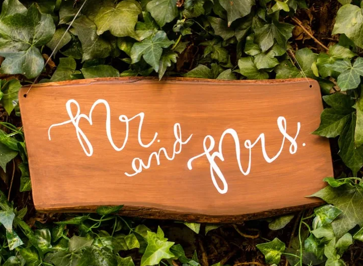 Wooden Mr. and Mrs. wedding sign