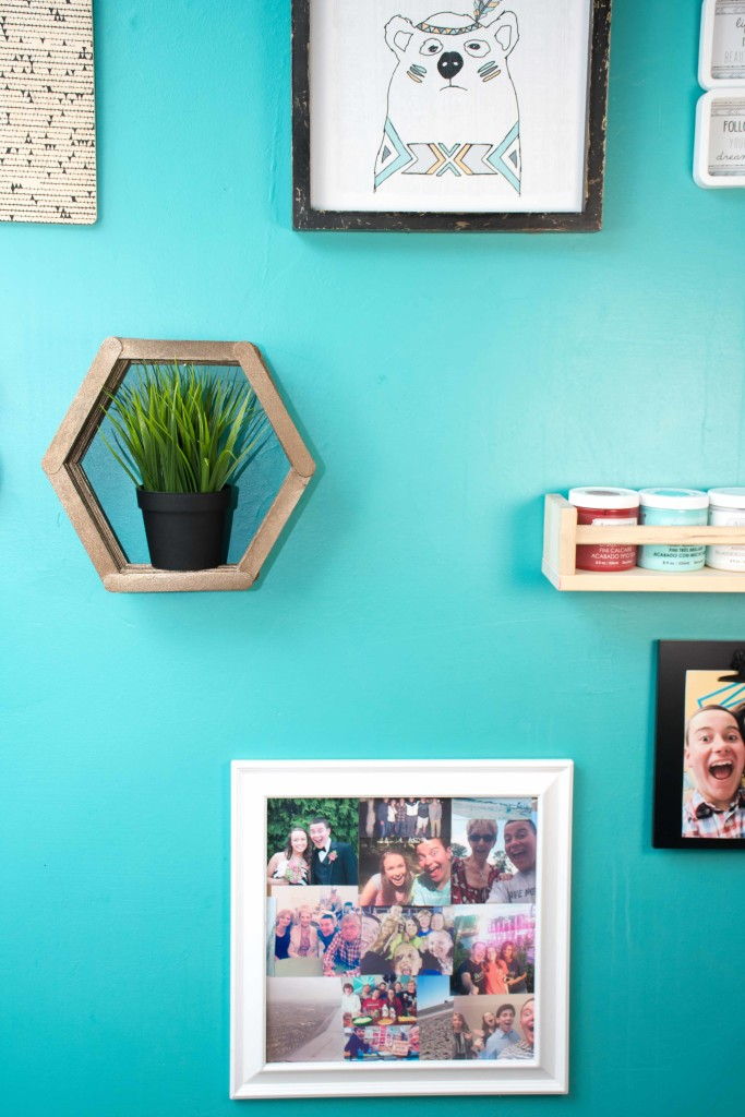 A homemade popsicle shelf made in a shape of a hexagon.