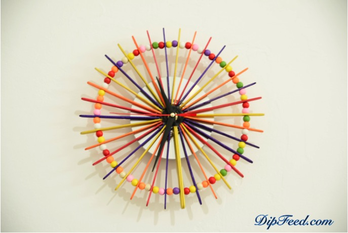 A cheap and easy to make popsicle stick and beads wall clock home decor