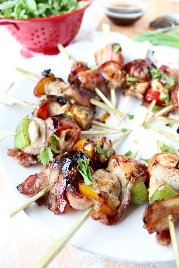bacon-wrapped teriyaki chicken bites skewers