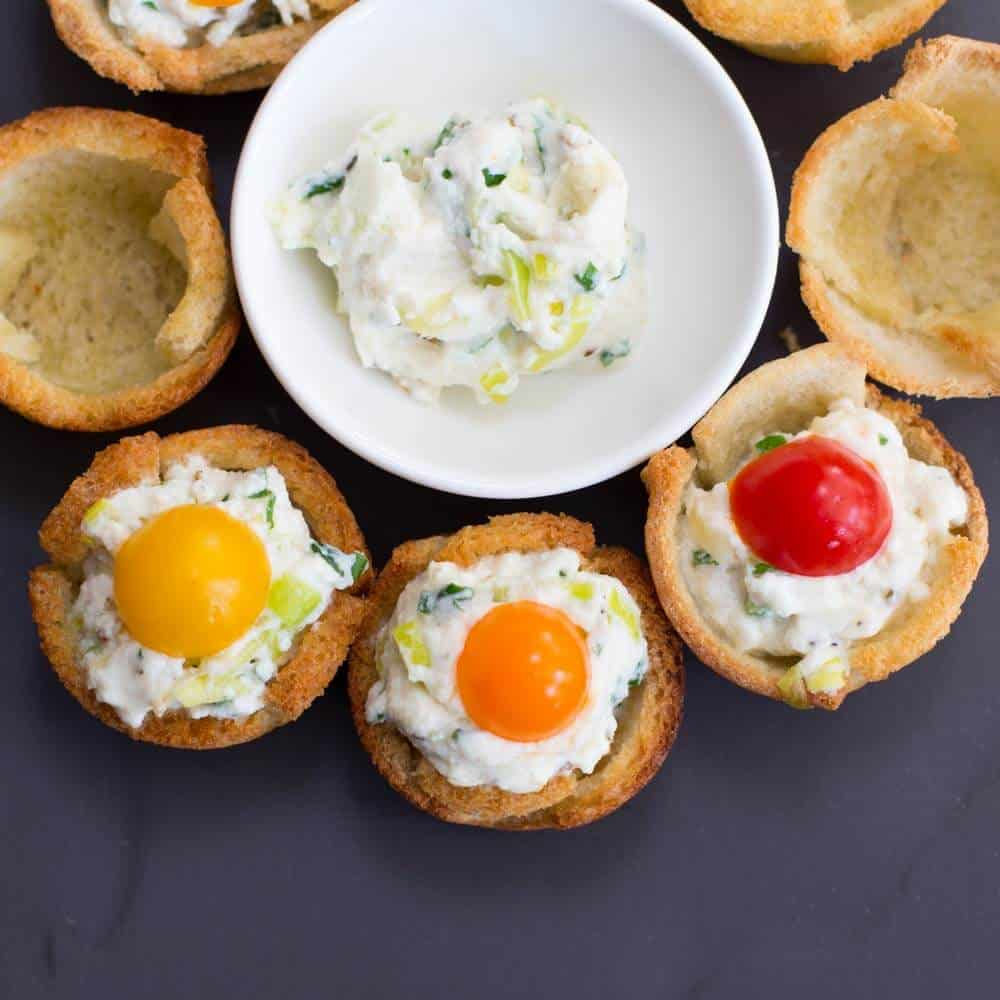 Toast cups filled with a ricotta-based filling
