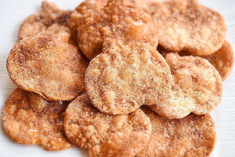 Pumpkin shapes cinnamon sugar chips