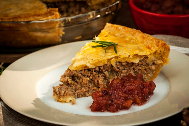 French Canadian Tourtiere Holiday Meat Pie Traditional dish