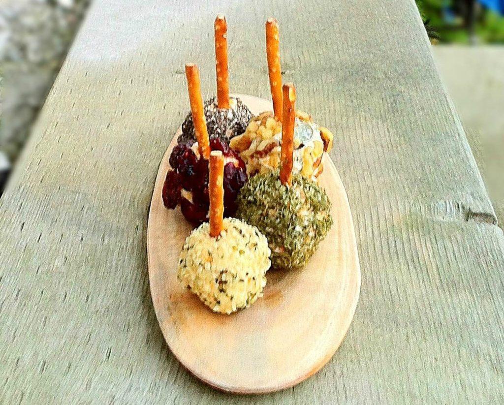 mini cheese ball on a stick