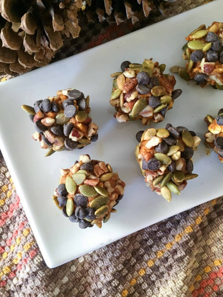 Little balls of pumpkin spice covered with nuts, seeds, and chocolate chips