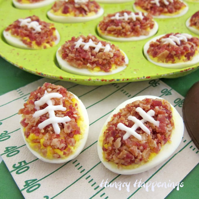 Deviled eggs topped with lots of crumbled bacon