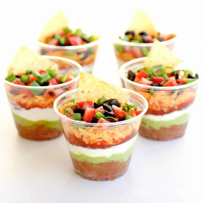 Individual cup of Mexican appetizer dips