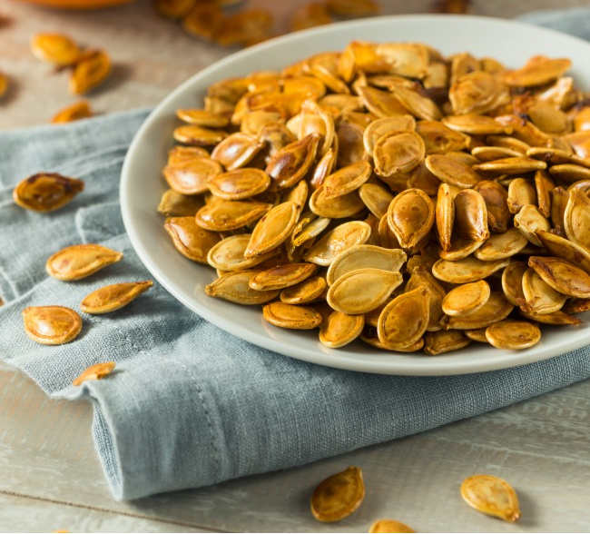 Crunchy and delicious, roasted pumpkin seeds