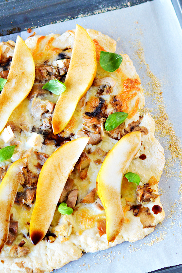 Unique and delicious leftover turkey and pear pizza with balsamic vinegar drizzle