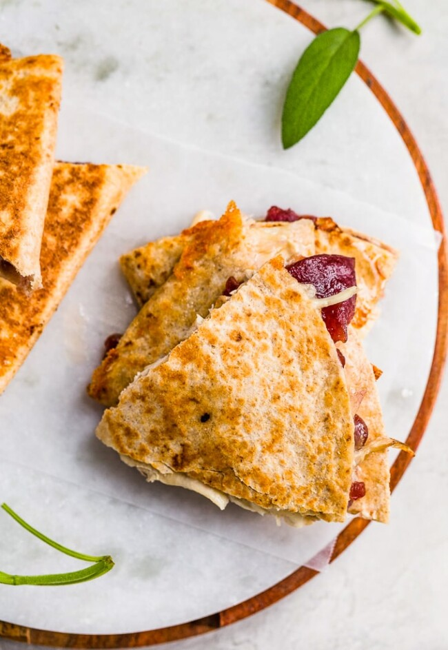 Three-Cheese leftover turkey, cranberry, and sage Quesadilla